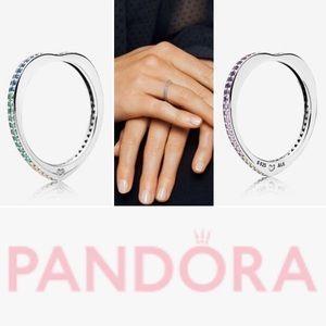 BNIB PANDORA Multicolored Arc of Love Ring sz 7